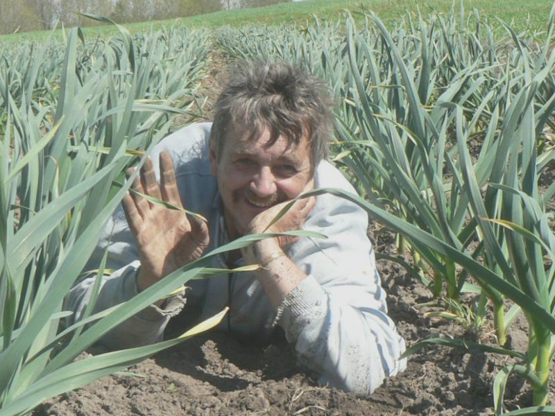 Garlic farmer Simon de Boer shows off his organic garlic fields at Langside Farms in Teeswater, Ontario, Canada.