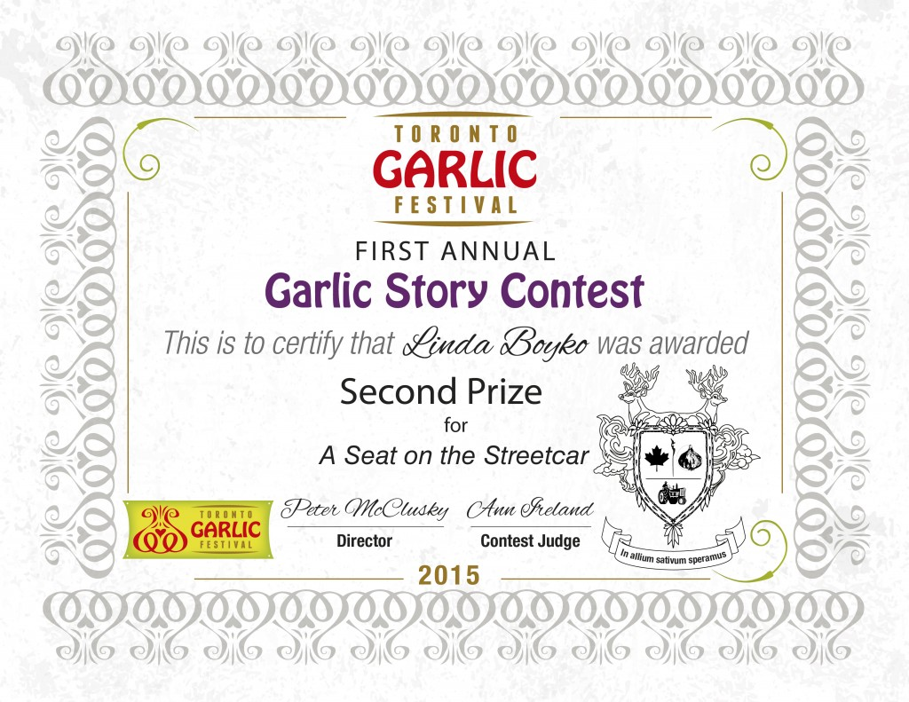 1st Annual Garlic Story Contest Winners Toronto Garlic Festival – First Place Award Certificate